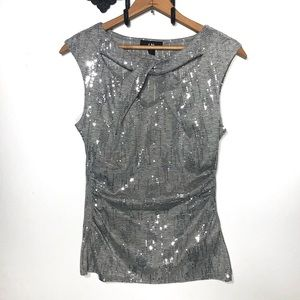 I.N. San Francisco Gray Tank w/ Silver Sequins